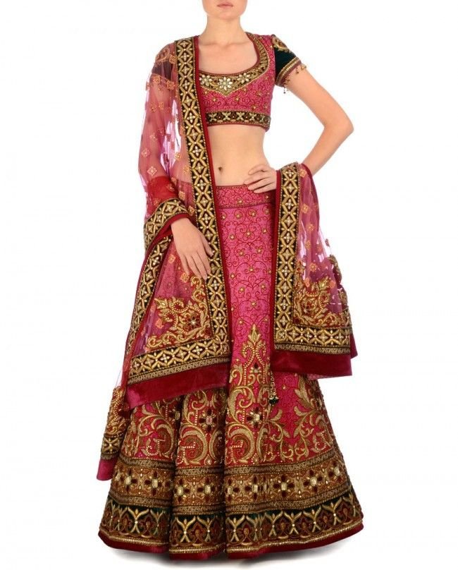 This Bridal lehenga in shades of pink colour silk with heavy zardozi and resham butti embroidery. Dupatta and choli of this bridal lehenga choli is teamed with