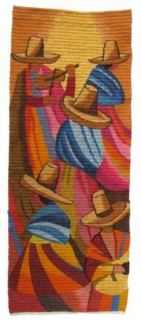 danza de cajamarca tapiz 90% lana de ovino,10% algodón tejido