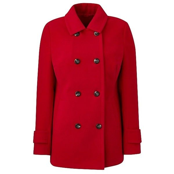 Pea Coat (€98) ❤ liked on Polyvore featuring outerwear, coats, pea coat, red pea coat, pea jacket, peacoat coat and red coat