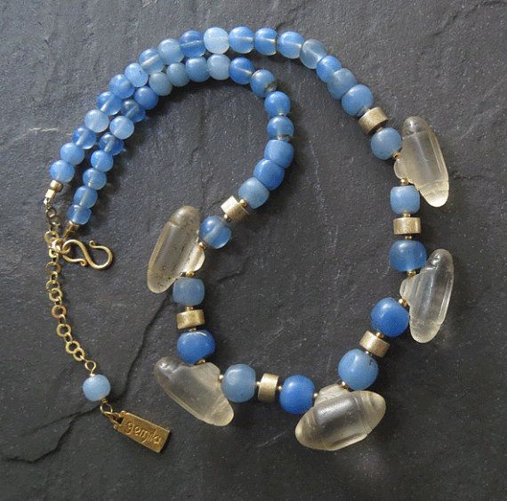 Burmesische Perlen und Gold Vermeil Halskette mit antiken Böhmisches Glas Amulett Anhänger