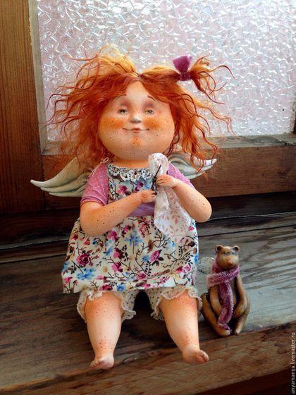 Купить или заказать Маняша в интернет-магазине на Ярмарке Мастеров. Девочка ангел была сделанна на заказ. Девочка рыженькая ангелочек изготовлена по мативам работы ' папина гордость '. Кукла сделана в смешанной технике , статична . Слеплена из паперклей одета в платье из американского хлопка. Волосы из натуральных трессов .