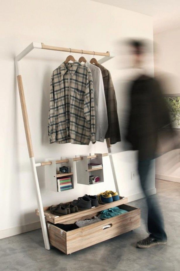 Furniture, Useful And Awesome Also Unique Temporary Wardrobe Storage Design Idea  With Small Bookshelf Shoeshelf And Wooden Drawer Gray Floo...