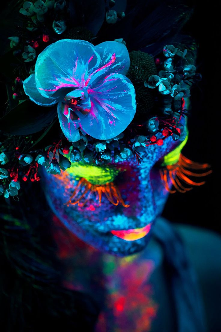 Color art magazine - Girl With Flower In Her Hair Neon Color Face Makeup Art