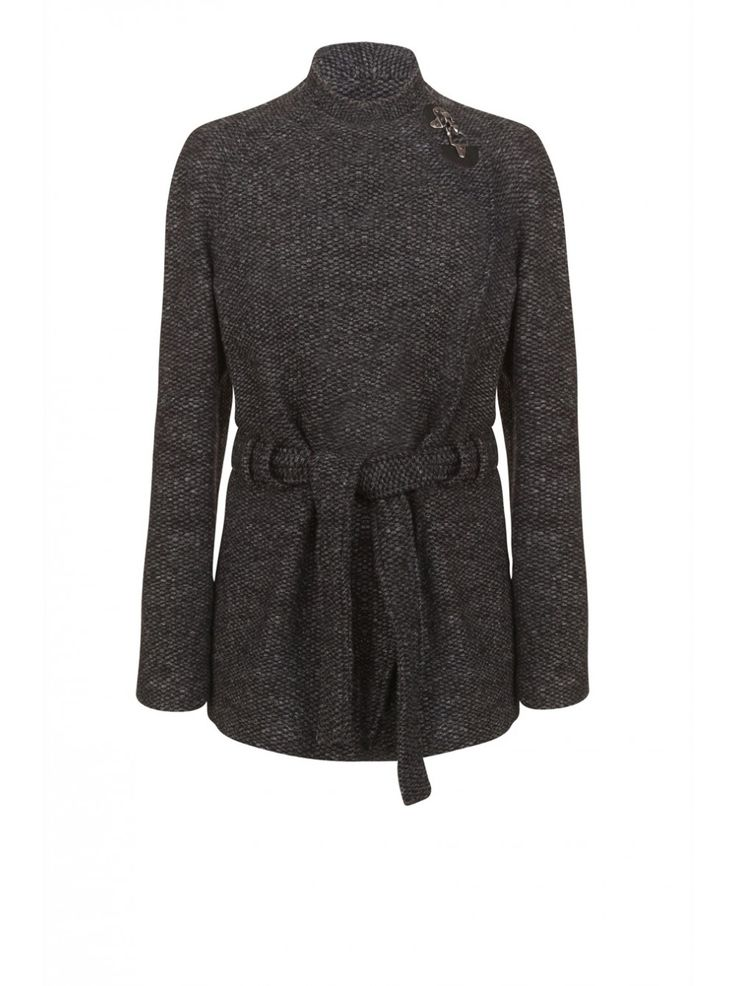 Manteau chiné asymétrique à nouer NOIR - Manteaux Femme - NAF