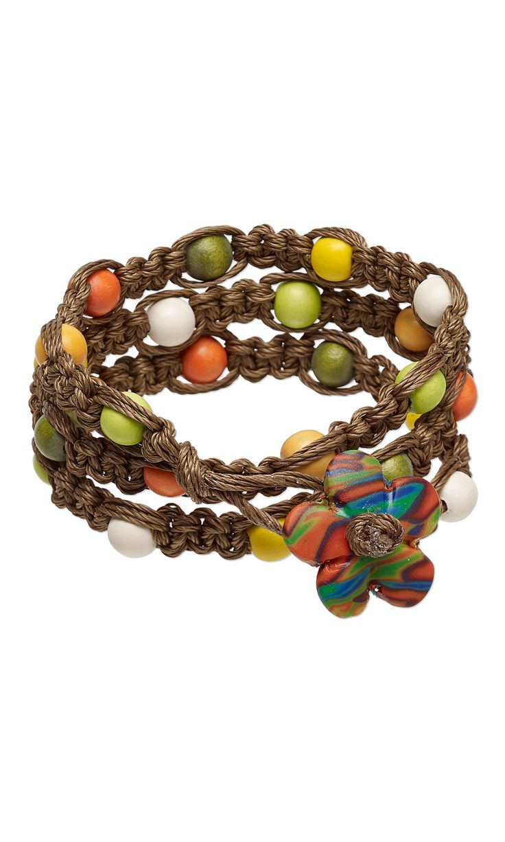 Bracelet with Wood Beads Kato Polyclay and
