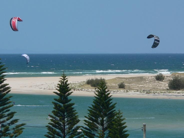 Sail boarding at Pumicestone Passage, Caloundra side, Sunshine Coast, QLD