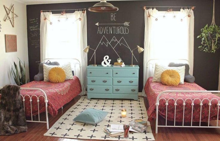 Boho-inspired shared bedroom for teen girls.