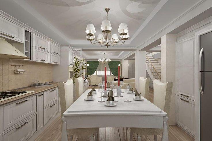 Design interior living cu bucatarie realizat in stilul clasic.Mobila bucatarie executata la comanda din mdf si lemn natur prin serviciul nostru de proiectare 3 D.Masa din lemn si mdf cu set scaune tapitete cu stofa din colectia Gardon .