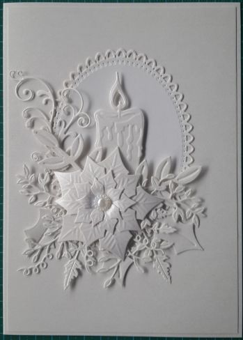 057_A5_Candle, Poinsettia with swirls and label all in white.  Handmade by Diane Prinsloo (Lubbe).