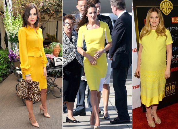 """""""O nude faz parte da combinações mais seguras, é o clássico da hora. Quando se usa o amarelo com nude não tem muita graça, mas também não tem muito erro. A bolsa de onça de Camille Belle corta um pouco essa facilidade da combinação e dá um pouco de tempero"""", diz Gloria. (Na foto: Camille Belle, Kate Middleton e Drew Barrymore)"""
