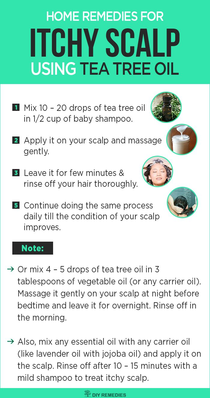 Tea Tree Oil Remedies for Itchy Scalp  Tea tree essential oil has terpinen – 4 – ol that exhibits natural antimicrobial and antiseptic and anti-inflammatory properties that help to treat itchy scalp. #TeaTreeOil #ItchyScalp #DIYRemedies