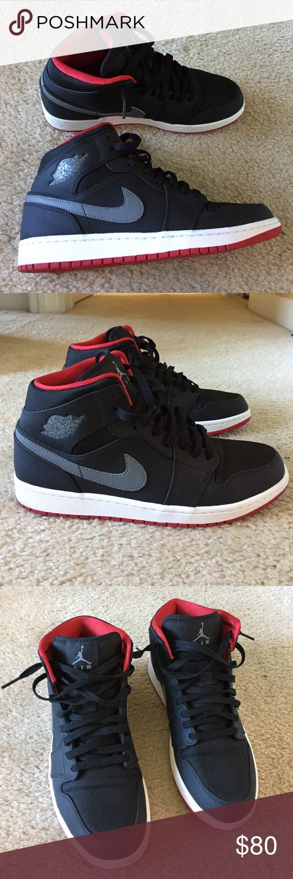 Authentic Nike Air Jordan 1 Black and Red Like new condition. Tried on and walked around once but never worn after that. Men's size 10 Nike Shoes Athletic Shoes