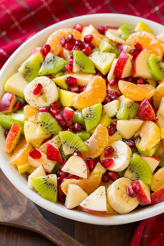 Normally I always think of fruit salads as a summer side dish but there's still a lot of fruit in season during winter so why not take advantage of that an