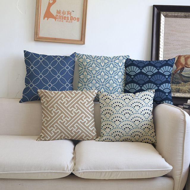 Geometry Modern Style Pillow Decorative Cushion Covers For Sofa Pillows Navy Blue Geometric Pillowca Decoracao De Almofadas Almofadas Faca Voce Mesmo Decoracao