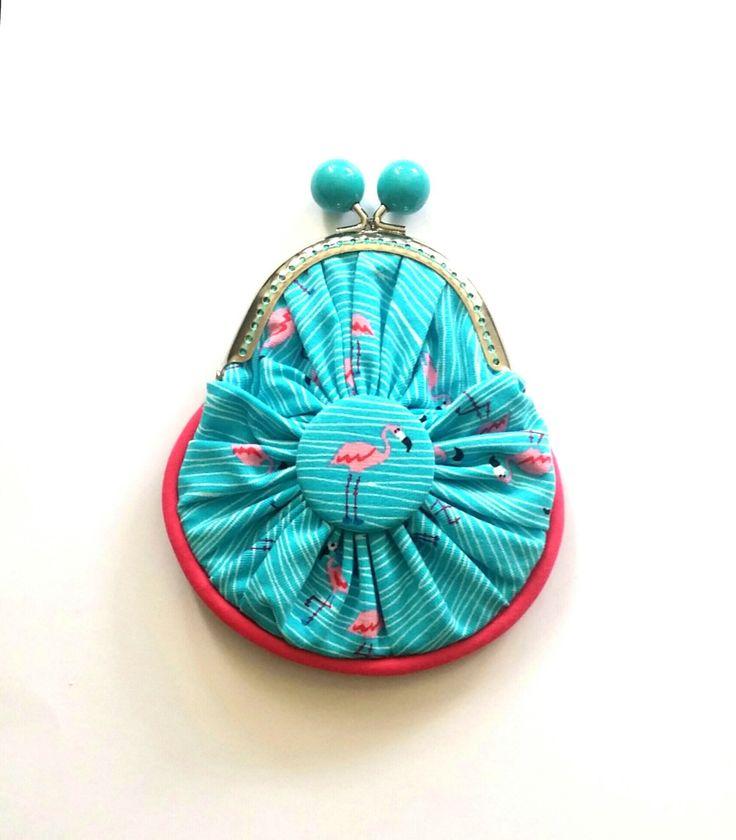 Porte monnaie motif flamant rose sur fond turquoise, porte monnaie création my little : Porte-monnaie, portefeuilles par my-little-papeterie