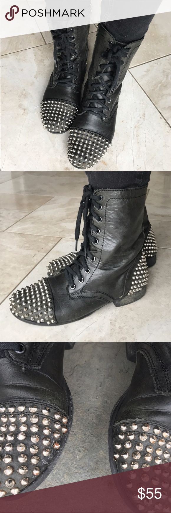 Steve Madden studded black combat boots Black leather studded combat boots in used condition. Size 7.5, but would fit an 8. I wore these and I am an 8-8.5. These have been well loved; the leather looks a a little aged, and there is some wear by the big toe (see pic). I would be happy to share additional photos. No trades, but all offers considered. Steve Madden Shoes Combat & Moto Boots