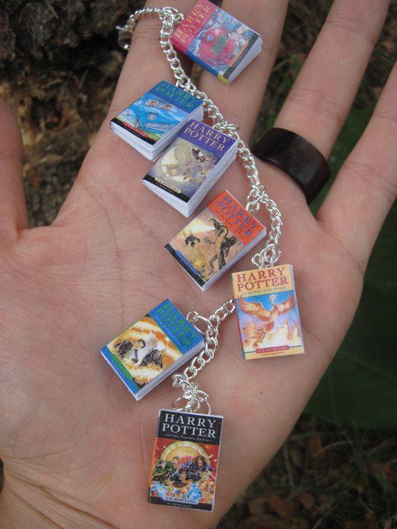 Harry Potter Book Bracelet UK Editions by MiniBooksJewelry on Etsy, $19.00