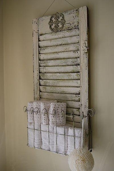 DIY Repurposed Furniture Ideas   Shutters work well for bathroom organization as well.