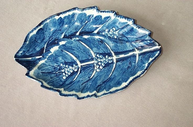"""A rare Bow blue and white plate  shaped as two overlapping serrated leaves with prominent veining and also some berries. Mock Oriental Mark   Circa  1760 Length    11  1/2"""""""