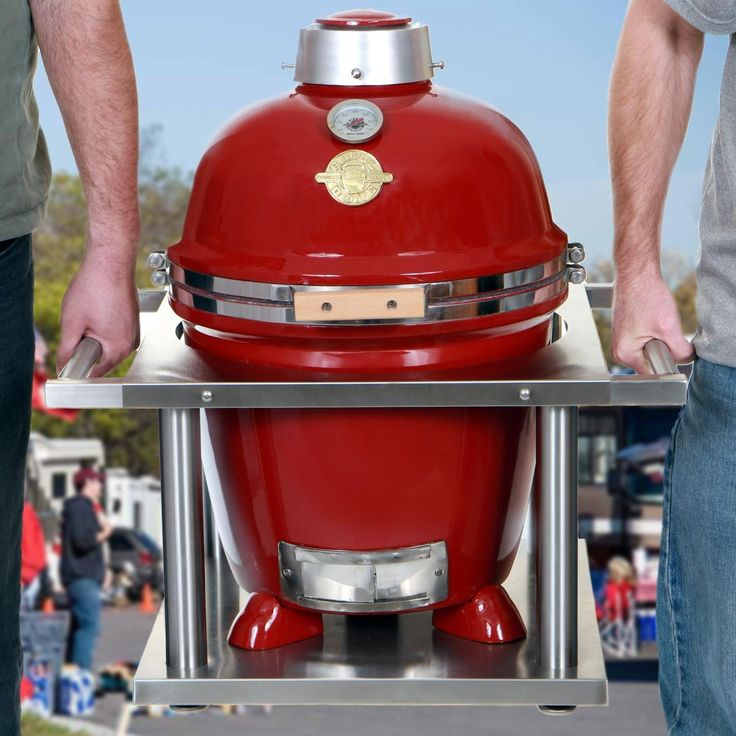 Grill Dome Infinity Series Small Red Kamado Grill With Kamagater