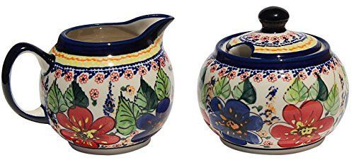 Polish Pottery Sugar Bowl and Creamer From Zaklady Ceramiczne Boleslawiec 694711233 Art Unikat Signature Pattern Sugar Bowl Height 37 Creamer Height 34 * Offer can be found by clicking the VISIT button