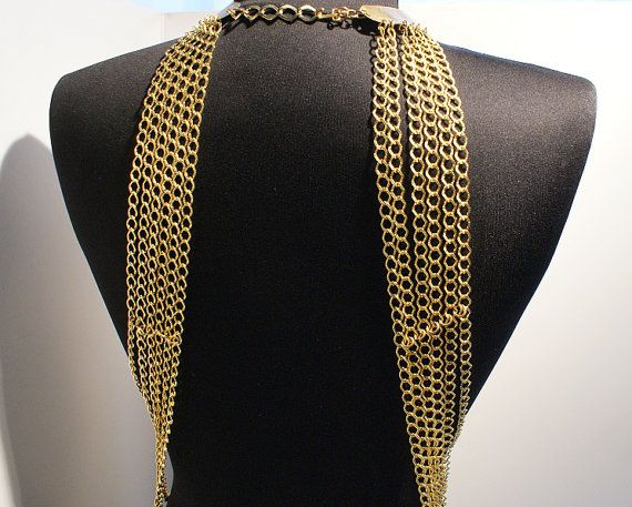 body chain necklace gold harness shoulder necklace by BeyhanAkman, $80.00