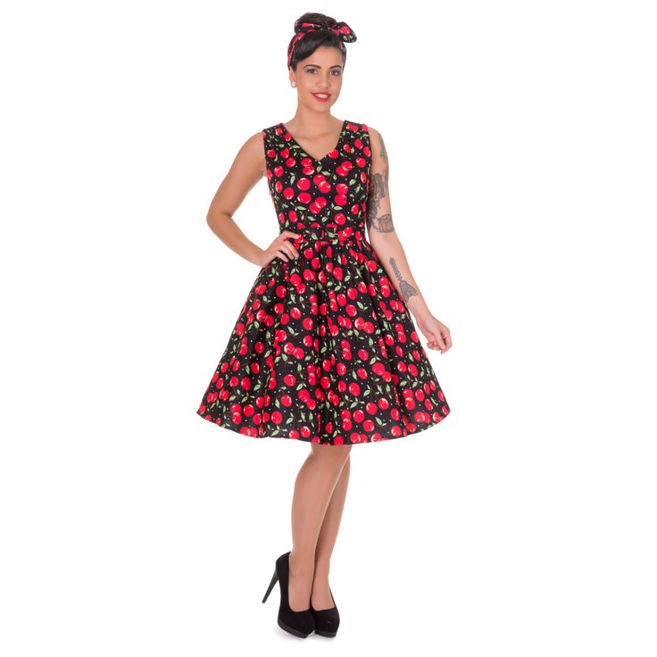 Petal Vintage Cherry Swing Dress in Black