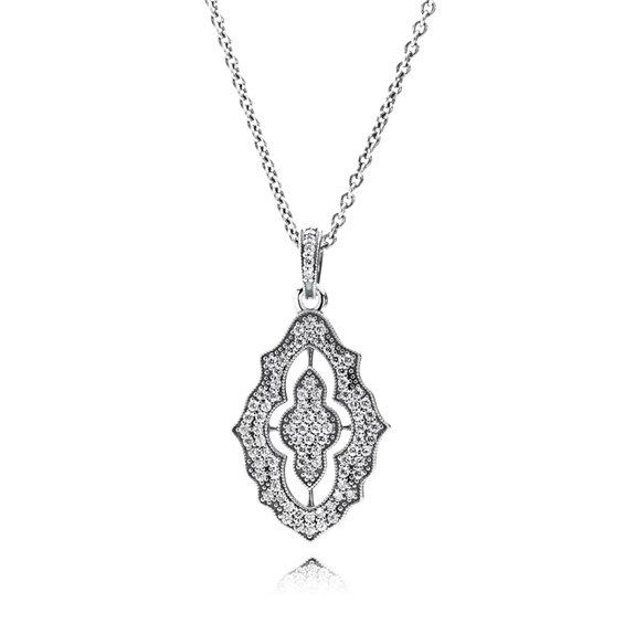 PENDANT PANDORA CLASSIC CRYSTALS SPARKLING LACE STERLING SILVER SET WITH CLEAR CUBIC ZIRCONIA ON ADJUSTABLE CHAIN 90CM - Jons Family Jewellers