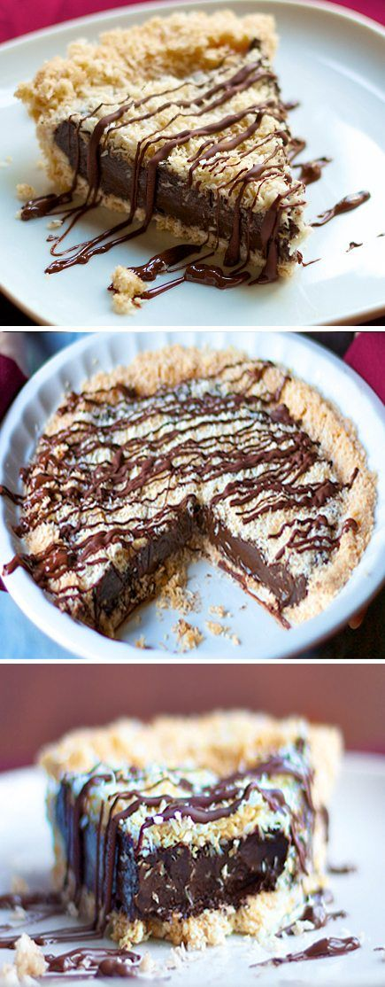 Samoas Girl Scout Cookies - This creamy & no-bake chocolate pie is an instant favorite of everyone who tries it!