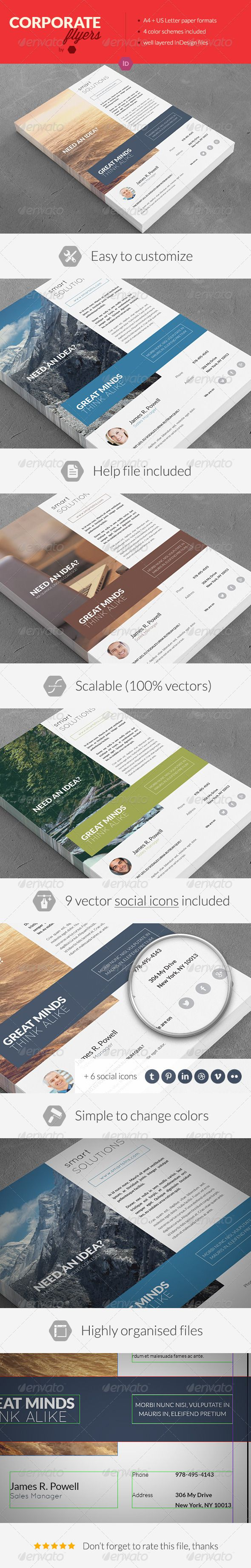 Clean Corporate Multipurpose Flyers / Magazine Ads - Print Templates