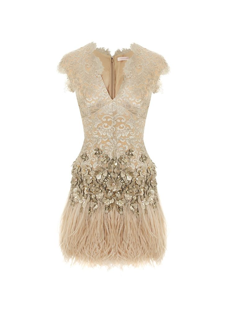 Matthew Williamson Feather and Crystal Lace Dress