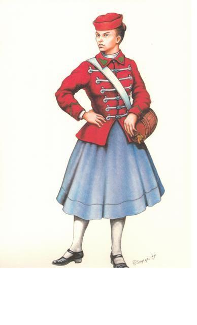 Vivandiera del 'Corpo Volontari Nazionale'  3a Guerra per l'Indipendenza Nazionale, 1866
