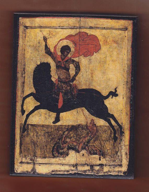 St.George οn a black horse Byzantine icon.Christian orthodox