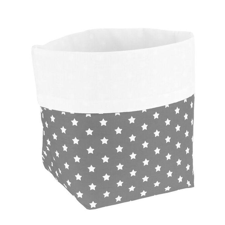 Aufbewahrung im Kinderzimmer, trendiges Utensilo Sterne grau/weiß, von sugarapple