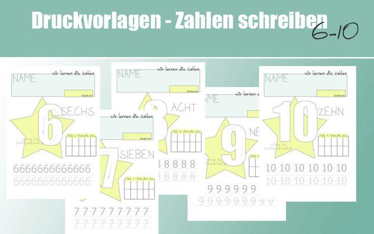 Kostenlose Druckvorlage Zahlen schreiben lernen für Kindergartenkinder und Vorschulkinder. Zahlen 6-10, mit Hinweise auf 1-5