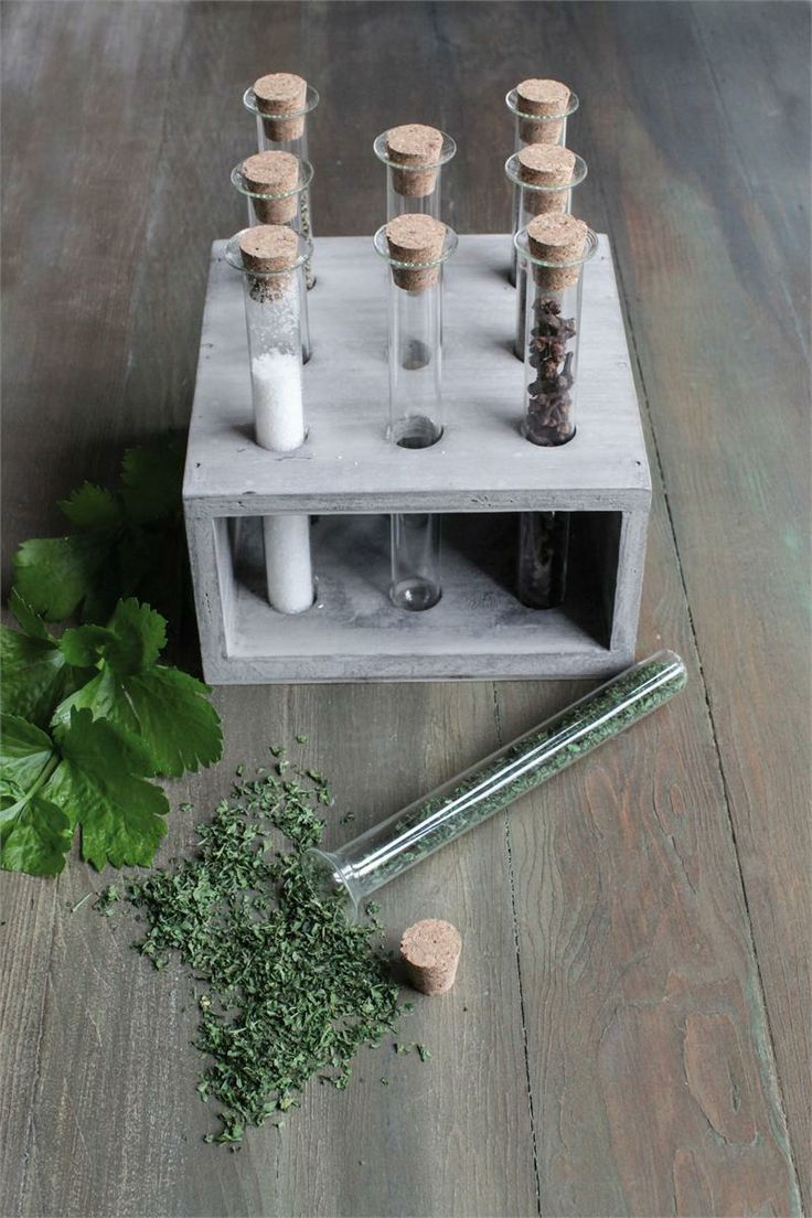 Vintage Style Test Tube Spice Rack Herb And Flowers