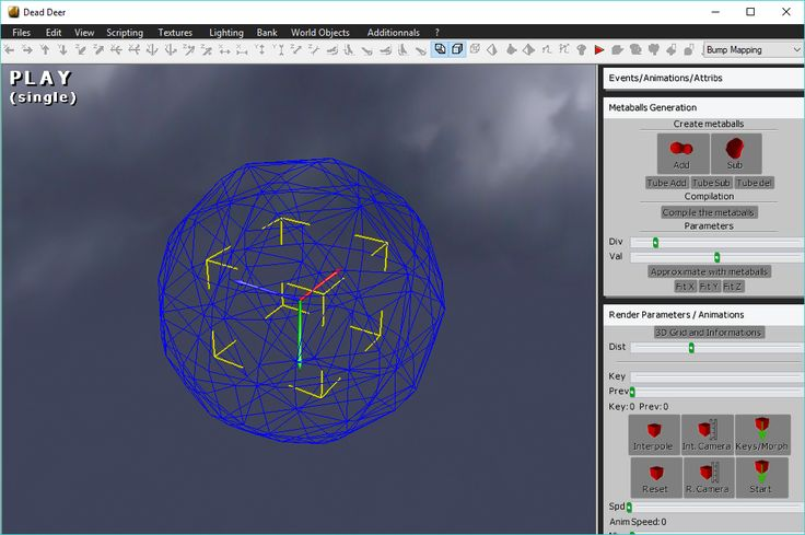 Dead Deer 3.8.67.2018 3D modeler, 3D game maker, 3D demo maker. A powerfull tool to modelise and create games. Scripting language allows you to code interactions in pseudo-C with the animation and synthetize your own rendering with own-made shaders. #indiegamedev #gamedev #computers #software #freeware #opensource