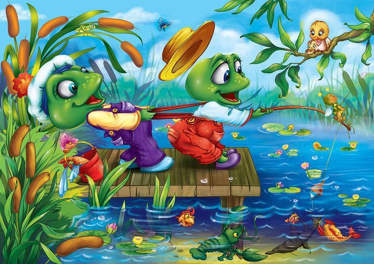 Просмотреть иллюстрациюМизева Оксана - Лягушата на рыбалке. Картинка для детских пазлов.