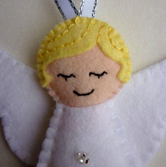 Personalised Felt Angel Handmade Ornament by rosecottagedesignss