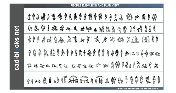 People In Plan And Elevation View People Cad Blocks