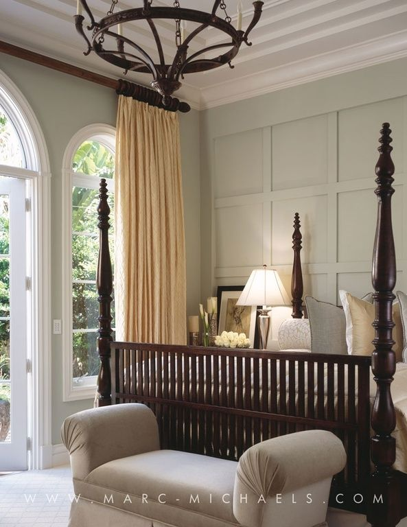 Traditional Guest Bedroom with Pottery Barn Cameron Cotton Pole Pocket Drape, One Kings Lane Savannah Roll-Arn Bench, Carpet