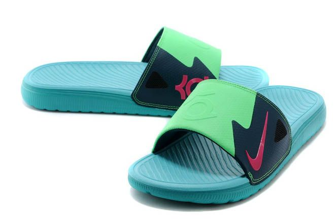 Mens KD Nightshade and Pink/Green Discount Slide Sandals for Sale