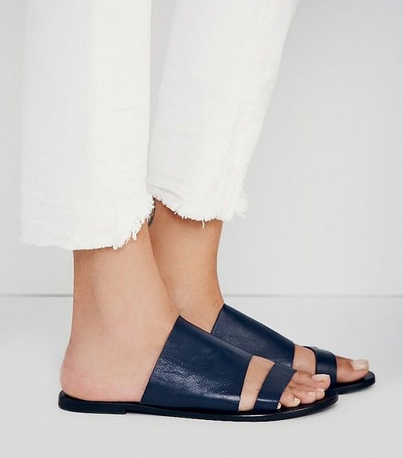 Sol Sana x Free People Carson Slide Sandals in Black Leather