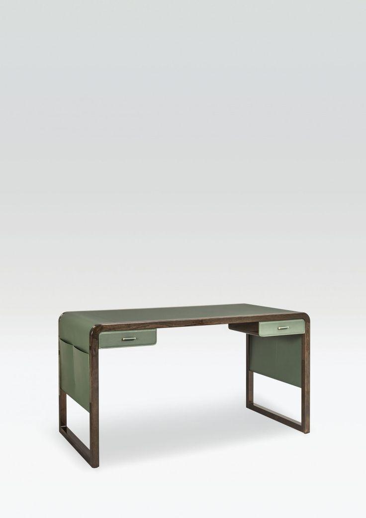 Jolie desk by armani casa leather top wood structure for Schreibtisch yves