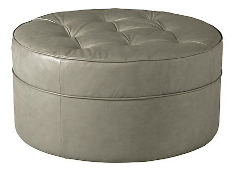Grey Round Tufted Leather Ottoman La z boy Living Room