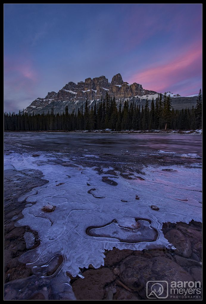 """Aaron M Photo posted a photo:  When Willie and I flew into Calgary and drove to Banff we had high hopes for its season of """"Ice and Fire"""". November has earned this reputation based on the beautiful pink and red sunsets that are more common during this month, while at the same time, Banffs lakes and rivers begin to freeze.  On our first night in Banff we drove straight to Castle Mountain. Most of the riverbed was still flowing normally but we found a few patches where the shallow water was…"""