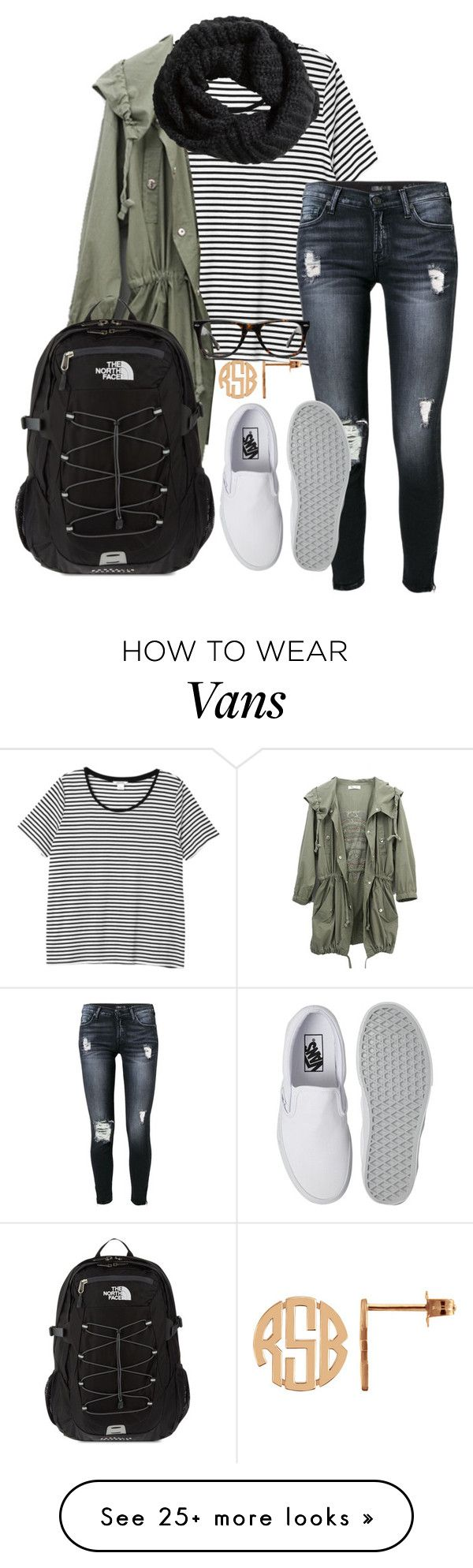 """""""School tomorrow"""" by ambermillard on Polyvore featuring Monki, 7 For All Mankind, Vans, The North Face, Muse, H&M, women's clothing, women, female and woman"""