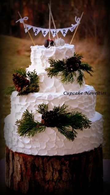 Rusic Pinecones Wedding Cake With Bride And Groom Pops Toppers Under A Bunting Cupcake