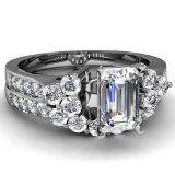 Fascinating Diamonds Classy Designer 1.55 Ct Emerald Cut Diamond Engagement Wedding Rings Set 14K GIA Fascinating Diamonds
