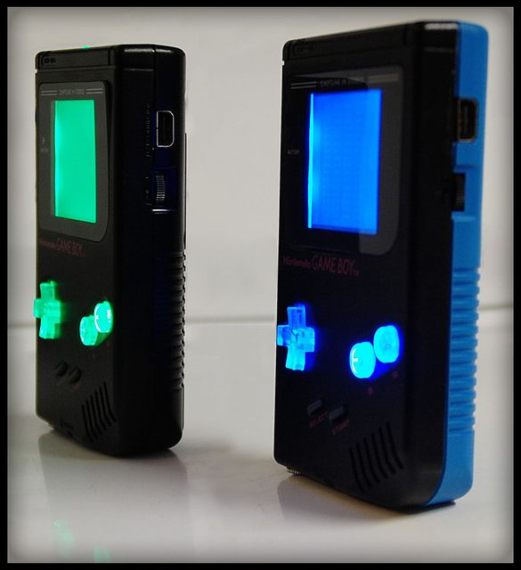 His & Hers, Custom Chiptune DMG Gameboys, w/ Pro Sound adapters and LSDJ Cartridges.